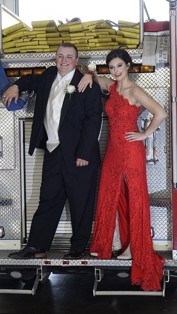 Peyton Lemons and Marty Lockridge prior to Kings Mountain High School Prom on May 16, 2015 at Boiling Springs Fire Department