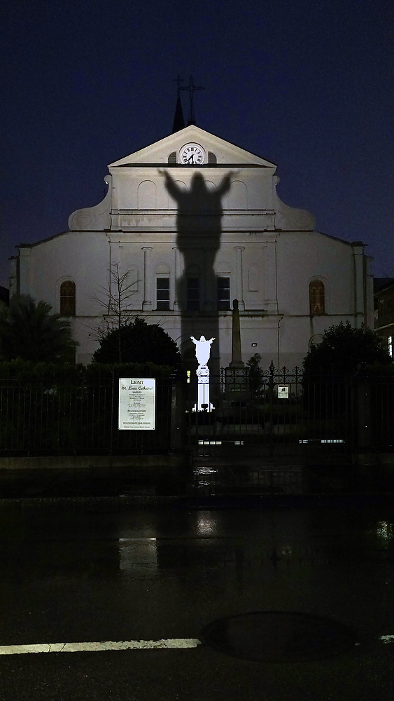 "Jesus the Savior, ""come unto me"" from the back of St. Louis Cathedral in the French Quarter, New Orleans, Louisiana. ©2015 Bob Carey (Sony a6000, Sony 24mm – 1/125, f1.8, iso 1600)"